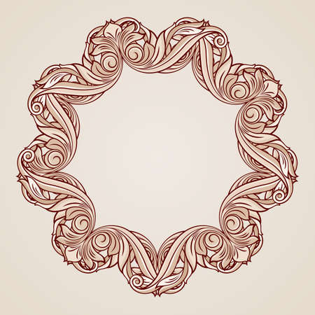 florid: Abstract florid ornament in pastel rose pink shades