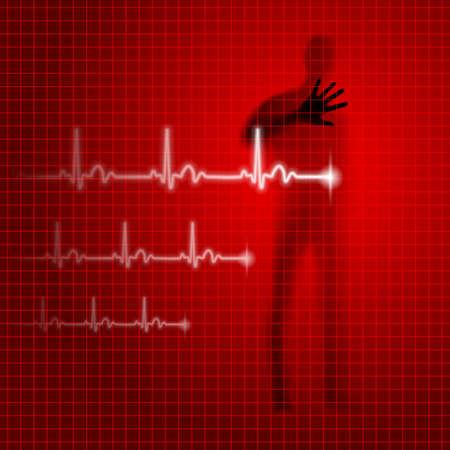 prophylaxe: Leuchtend roten medizinischen Hintergrund mit menschlichen Silhouette und Kardiogramm Linie