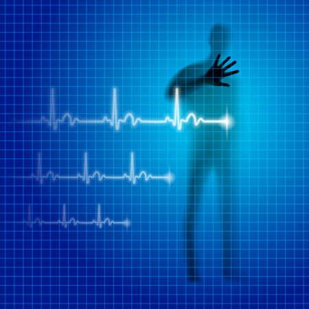 prophylaxe: Blau medizinischen Hintergrund mit menschlichen Silhouette und Kardiogramm Linie