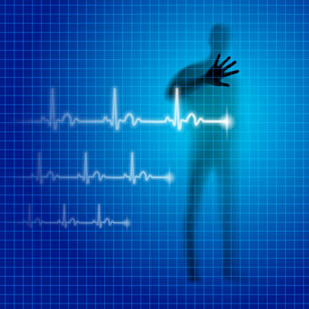 prophylaxis: Blue medical background with human silhouette and cardiogram line Illustration
