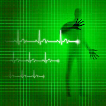 prophylaxe: Neon gr�ne medizinischen Hintergrund mit menschlichen Silhouette und Kardiogramm Linie