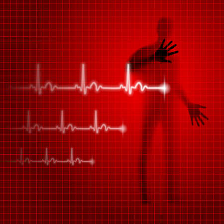 Medical background with human silhouette and cardiogram line Illustration