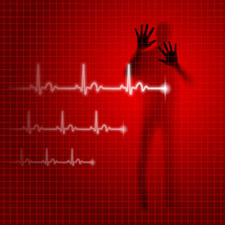 prophylaxis: Red medical background with human silhouette and cardiogram line Illustration