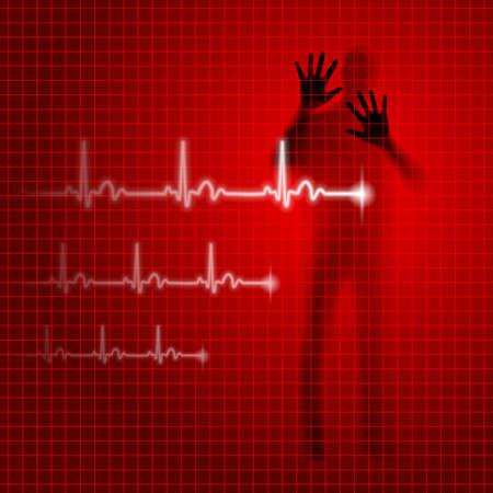 prophylaxe: Red medizinischen Hintergrund mit menschlichen Silhouette und Kardiogramm Linie