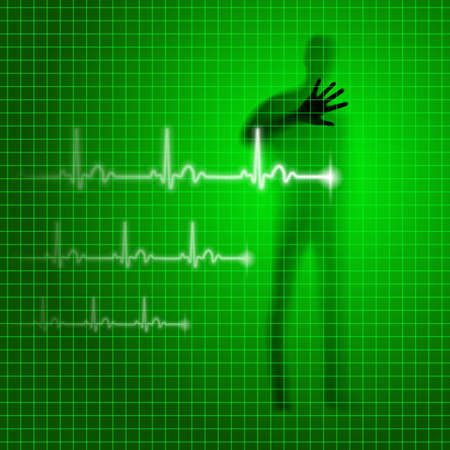 prophylaxis: Green medical background with human silhouette and cardiogram line