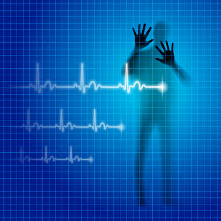 Shining medical background with human silhouette and cardiogram line Illustration
