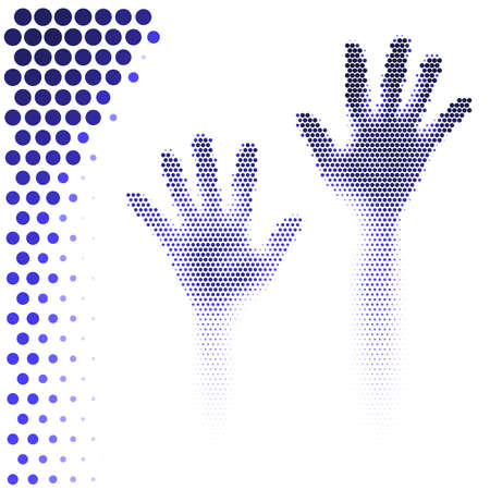 Hands silhouette in halftone style on black background Vector