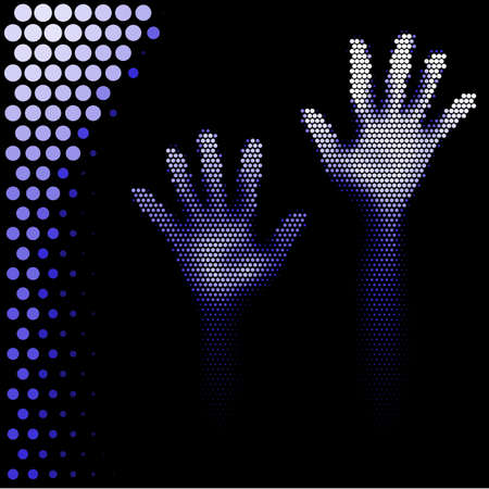 Hands silhouette in halftone style on white background Illustration