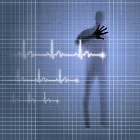 prophylaxe: Geheimnisvollen medizinischen Hintergrund mit menschlichen Silhouette und Kardiogramm Linie