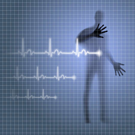prophylaxis: Luminous medical background with human silhouette and cardiogram line