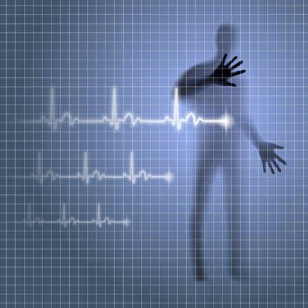 prophylaxe: Luminous medizinischen Hintergrund mit menschlichen Silhouette und Kardiogramm Linie