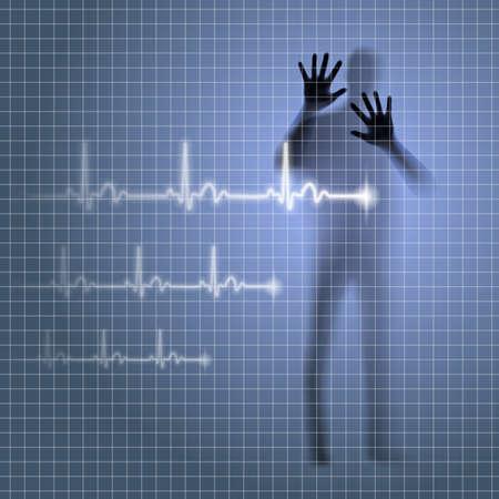 prophylaxe: Verschwommene medizinischen Hintergrund mit menschlichen Silhouette und Kardiogramm Linie Illustration