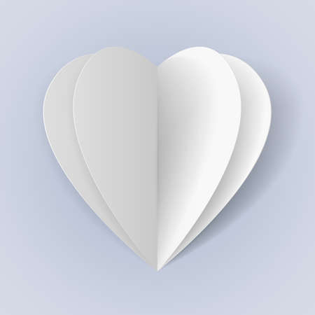 Two folded white paper hearts for romantic design Vector