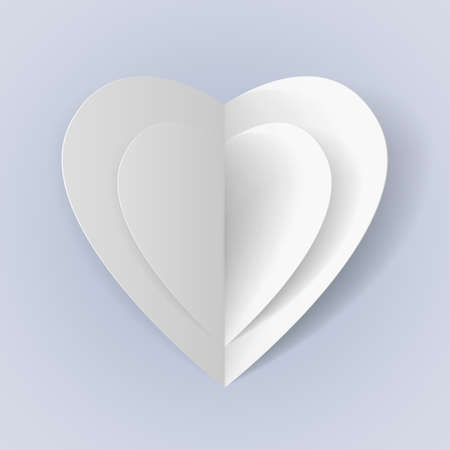 Two white folded paper hearts for romantic design Vector