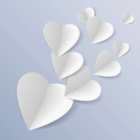 Background with several white folded paper hearts Vector