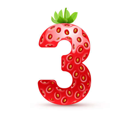 three leaf: Number three in strawberry style with green leaves