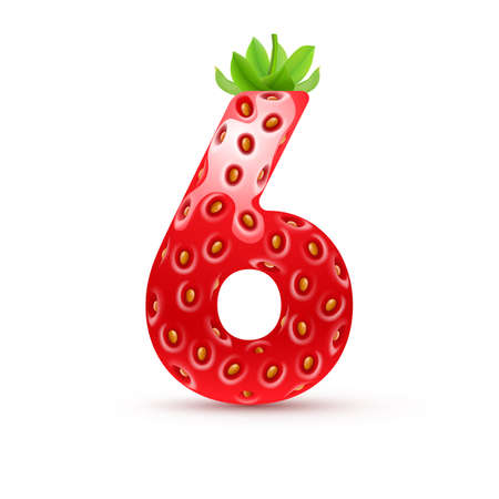 number 6: Number six in strawberry style with green leaves Illustration