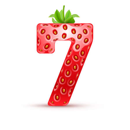 numbers counting: Number seven in strawberry style with green leaves