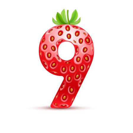 numero nueve: Número nueve en estilo fresa con hojas verdes