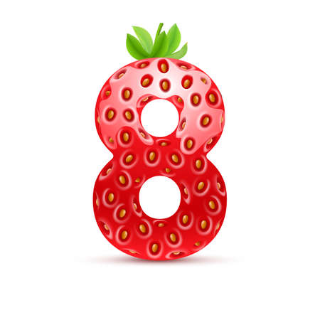 number eight: Number eight in strawberry style with green leaves