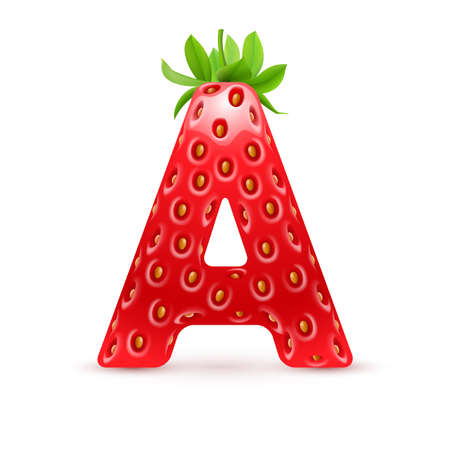 Letter A in strawberry style with green leaves