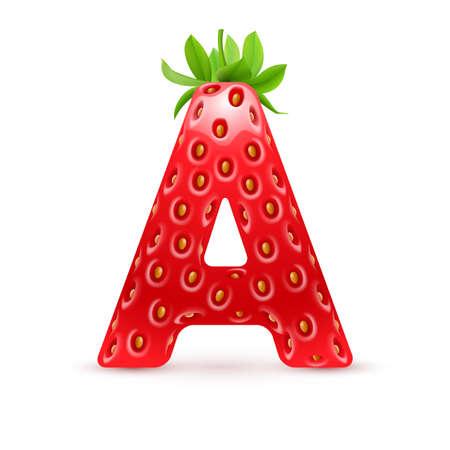 Lettre A dans le style de la fraise avec des feuilles vertes