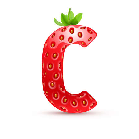 Letter C in strawberry style with green leaves Ilustracja
