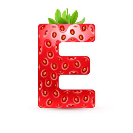 Letter E in aardbei stijl met groene bladeren