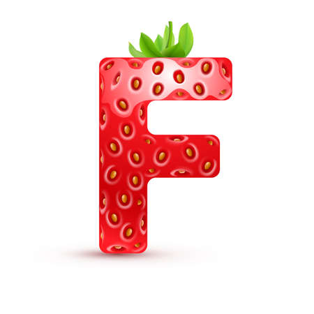 Letter F in strawberry style with green leaves Illustration