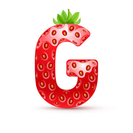 g: Letter G in strawberry style with green leaves