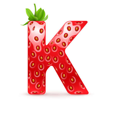 Letter K in strawberry style with green leaves Illustration