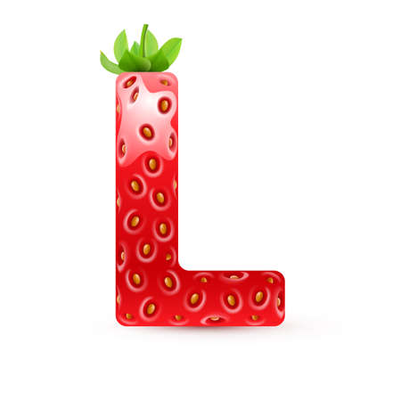 Letter L in strawberry style with green leaves Vector