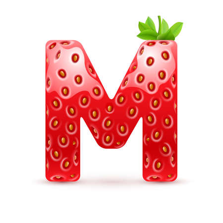 Letter M in strawberry style with green leaves
