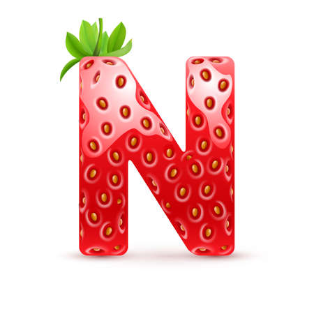 Letter N in strawberry style with green leaves