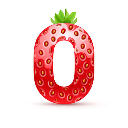 Letter O in strawberry style with green leaves