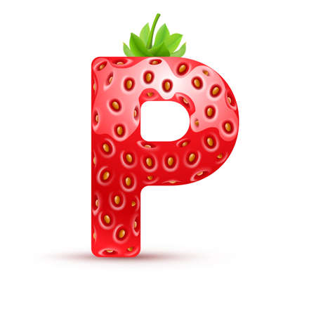Letter P in strawberry style with green leaves Vector
