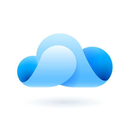 Abstract blue cloud made of curved elements. Cloud computing Vector