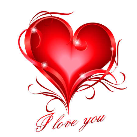 romantic: Glowing red heart with floral decoration and I love you text Illustration