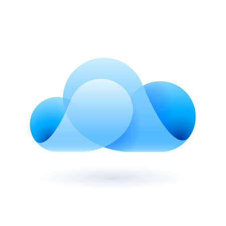 synchronizing: Abstract transparent blue cloud made of curved elements. Cloud computing