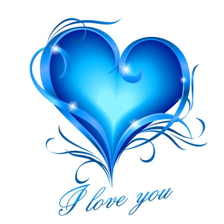 Glowing blue heart with floral decoration and I love you text Vector