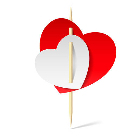 to pierce: White and red papers hearts on toothpicks. Illustration on white background