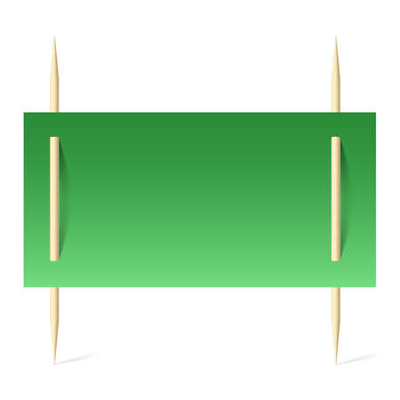 paper pin: Blank banner with green paper on toothpicks. Illustration on white background