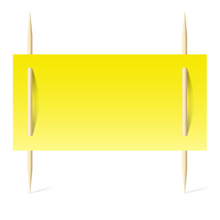 Blank banner with yellow paper on toothpicks. Illustration on white background Vector