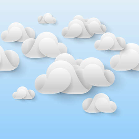 ร   ร   ร   ร  ร ยข  white clouds: Abstract white clouds made of curved elements on light blue background. Cloud computing Illustration