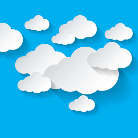 Abstract white clouds pn blue sky background. Cloud computing