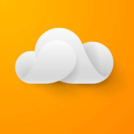Abstract white cloud made of curved elements on orange background. Cloud computing Vector