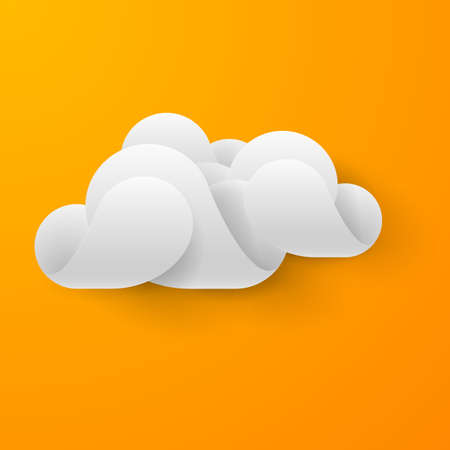 synchronizing: Abstract white cloud made of curved elements on bright orange background. Cloud computing Illustration