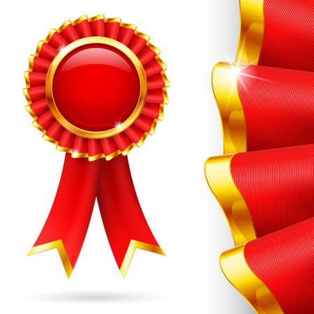 awards ceremony: Shiny red award ribbon with golden edging. Fabric with highly detailed texture