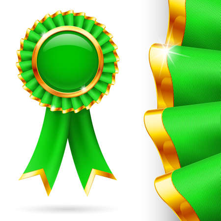 inkle: Shiny green award ribbon with golden edging. Fabric with highly detailed texture
