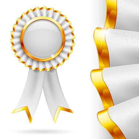 Shiny white award ribbon with golden edging. Fabric with highly detailed texture Vector